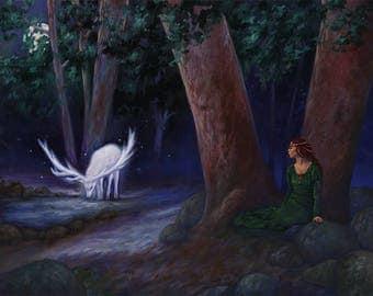 "The White Hart Original 16""x20"" Fantasy Illustration Oil Painting by David Hoffrichter"