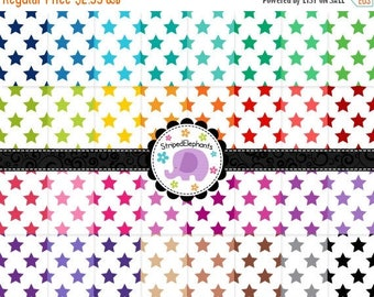 40% OFF SALE Star Digital Papers 2, Stary Digital Scrapbook Paper Pack, Stary Digital Backgrounds, Instant Download, Commercial Use