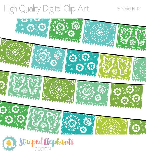Papel Picado Clipart Digital Fiesta Mexican Banners Clip Art