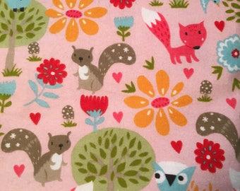 Pink Woodland Creatures Flannel Swaddle Blanket, Receiving Blanket