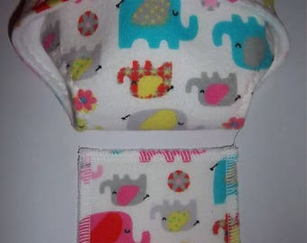 Baby Doll Diaper/wipes - multi color and multi size elephants on white - See Shop Special - adjustable for many dolls such as bitty baby