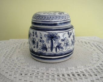 "Vintage  China Porcelain Blue and White Temple Ginger Jar with Lid Poruguese Pottery Hand Painted Freestyle  5"" Tall"