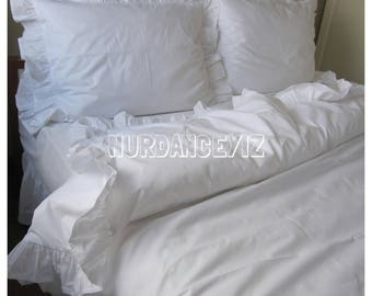Solid white cotton ruffled Bedding queen king size Duvet cover shabby chic bedding sets ruffle pillowcases + euro sham Nurdanceyiz Turkey