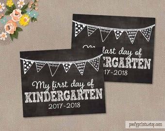 First & Last Day of Kindergarten Chalkboard Printable Sign - 8 x 10 Printable First Day of School Sign - INSTANT DOWNLOAD - 500