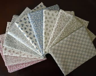 Fat Quarter Bundle of 11 of Downton Abbey Downstairs Collection by Kathy Hall for Andover Fabrics