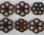 Vintage Valve Handles-Shipping Special-Rustic Flower Power - Industrial Bouquet-  6  Unique Steel Vintage Valve  Handles/Faucet Handles