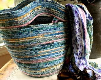 Clothesline Tote Bag  Repurposed Coiled Rope Basket Pastel Blue Batik Fabric  Beach Carry All  Handmade Fiber Art  Cotton Rope Market Basket