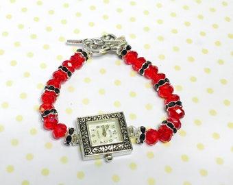 Ruby red Watch/Bracelet, Crystals, black rhinestones, Antique Silver  Tone,Flower Clasp, item no. L111