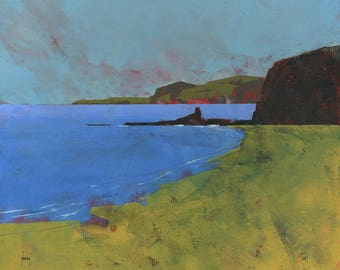 Original abstract landscape painting - Ceredigion cliffs