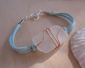 Sea Glass Bracelet Copper and Suede Wire Wrapped Beach Glass Bracelet