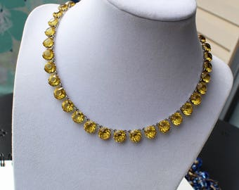 Vintage Art Deco Yellow Crystal Sterling Silver Bezel Necklace