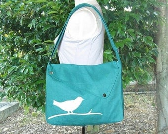 On Sale 20% off Turquoise green cotton canvas messenger bag / shoulder bag / bird messenger /diaper bag / cross body bag
