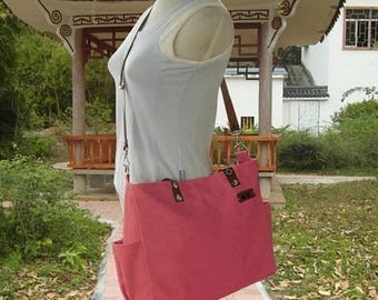 On Sale 20% off Unisex tote messenger bag, leather strap travel bag in red, tote bag leather straps, large diaper bag, name tag bags persona