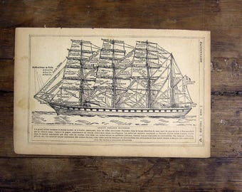 1921 French Print illustration Sailing ship boat vintage yellowed aged discolored schooner clipper