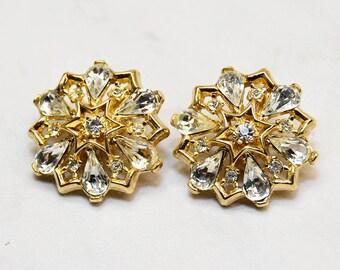 Glam Crown Trifari rhinestone snowflake starburst clip on earrings - vintage designer signed 1950s 1960s