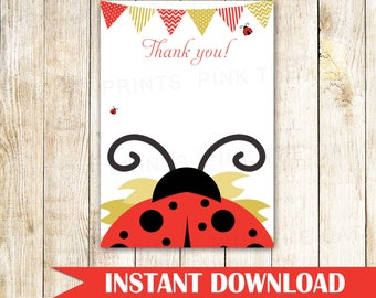 Ladybug Thank You Card Ladybug Thank You Note - Ladybug Party Card Ladybird Thank You Note Baby Shower Red Gold Birthday INSTANT DOWNLOAD