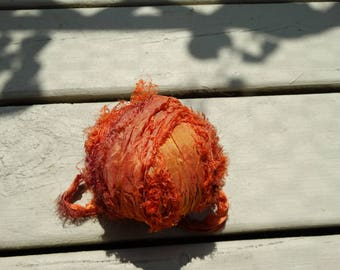 7 Yards AUTUMN LEAVES Fuzzy  Sari Silk Ribbon