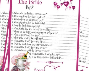 """10 x """"Who Knows The Bride Best?"""" Hen Party / Bridal Shower Game"""