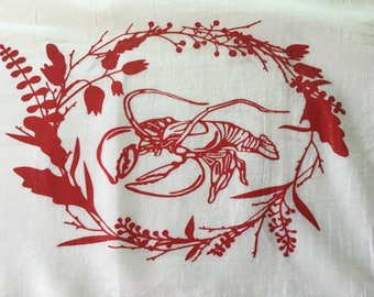 Lobster and Lupine Tea Towel