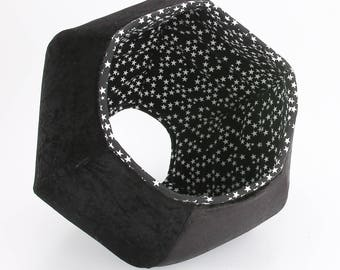 Cat Bed in Black Velvet and Glow in the Dark Stars Fabrics - the Cat Ball modern cat bed