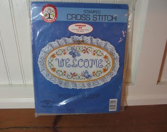 Cross Stitch Kit, Welcome Wall Plaque, Sign in Wooden Hoop with Eyelet Lace, Needlework, Crafts, Embroidery