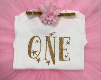 First Birthday Girl Outfit ,Twinkle star Outfit, pink and gold ONE with stars,  pink and gold smash cake outfit,Baby girl birthday outfit