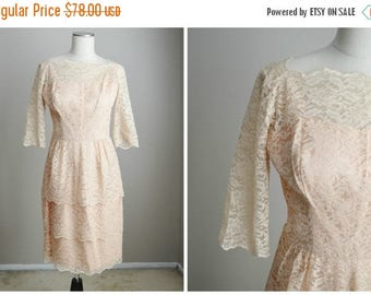 Summer SALE - 20% off - vintage 50s 60s pale pink lace tiered peplum wiggle dress // womens small/med // 36-28-40