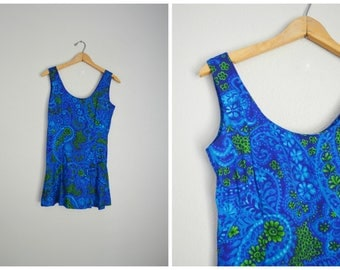 vintage 60s 70s blue floral hawaiian bathing suit coverup dress -- womens xsmall small -- 34-26-free