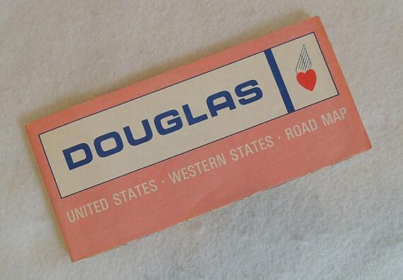 Rare Vintage 1967 Douglas Heart Gasoline Road Map.. U.S. Western States