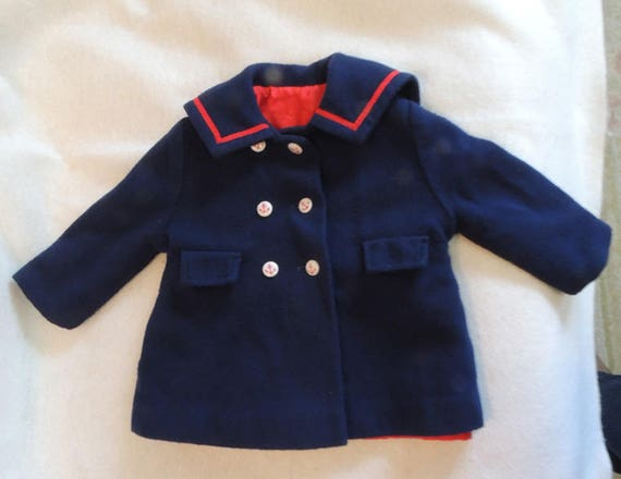Vintage Navy Sailor Coat.. Millicent's Of San Francisco.. Baby / Toddler / Doll
