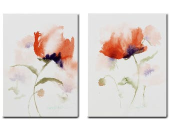 5X7 Original Watercolor set Floral Decor Art Wall Home Decor-Orange Red poppy Impressionistic