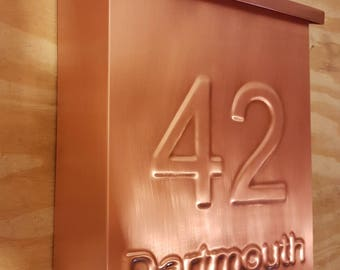 Vertical  Copper Mailbox with embossed address