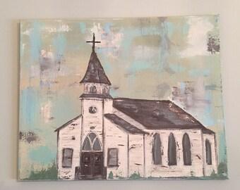 Rustic church painting, original art