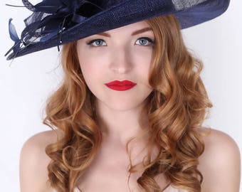 """Navy Sun Hat - """"Charlotte"""" Navy Flipped Brimmed Fascinator Sun Hat w/ mesh flowers and feathers"""