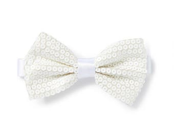 Men's Sequin Bow Tie - White