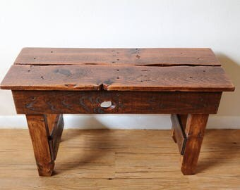 Rustic Reclaimed Wood Bench - Extra Sturdy, Honey Stain, Sealed with Poly, Cute and Small