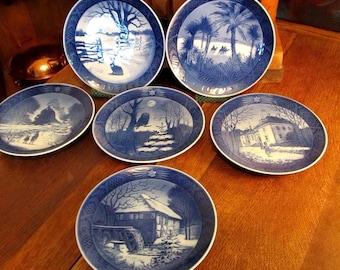 6 Vintage Royal Copenhagen Christmas Plates. 1971-1976