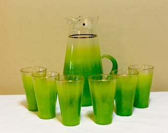 7 PC. Set of West Virginia Glass -BLENDO Pitcher and Glass Set in Lime Green !!!!!