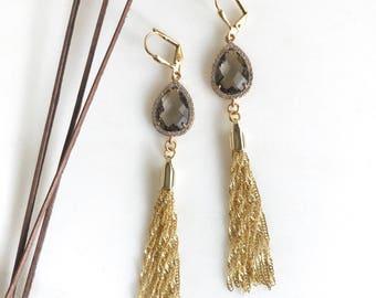 Fancy Charcoal Grey and Gold Tassel Earrings.  Fancy Long Tassel Earrings.  Gold Statememt Earrings. Modern Jewelry. Statement Earrings.