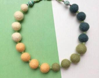 Felt bead necklace, green felt necklace, felt ball necklace, yellow necklace, green necklace, wool bead necklace, chunky necklace