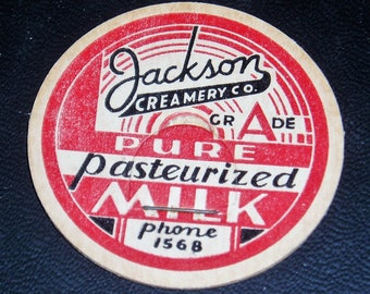 Milk Bottle Lids x 3, Jackson Creamery, Antique