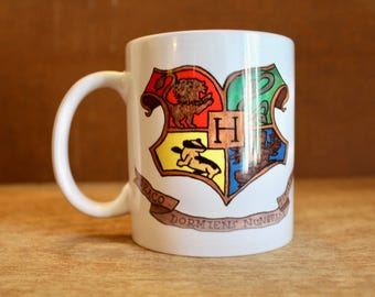 "Hogwarts Crest with J.K. Rowling Quote - ""The stories we love best"" Ceramic Mug - Heat-Press Sublimation of Original Watercolor Artwork"