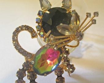 Juliana DeLizza & Elster Rhinestone Kitty Cat Figural Brooch Pin