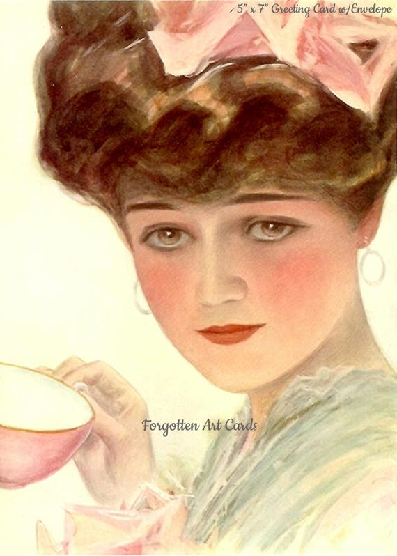 """Harrison Fisher, Teacup Lady, 5""""x 7"""" Greeting Card w/Envelope, Forgotten Art Card, Pretty Girl Postcards,"""