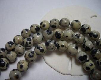 Natural Dalmatian Jasper beads, round, 6mm, full strand, beads, natural gemstone beads, 6mm beads, black, white, Jasper beads, 6mm Jasper