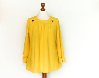 Vintage Bright Yellow Top Blouse / Long Sleeve / Loose Fit / A Line / medium