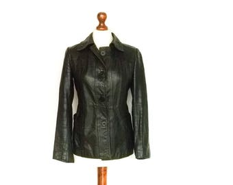 Vintage 70s Black Leather Jacket / Short Coat / Fitted / Buttoned / small