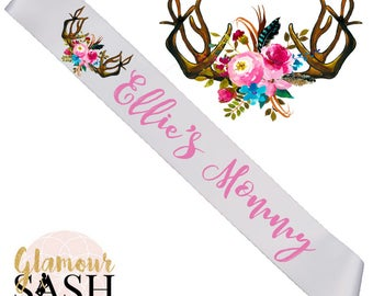 Baby Shower Sash - Mommy  To Be  Sash - Boho Sash - Deer - Antlers - Watercolor - Custom Sash - Personalized Sash - Woodland - ANY COLOR  D1