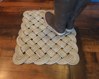 """Nautical Rope Rug 20"""" x 20"""" Tightly Woven Knotted Indoor or Outdoor Door Mat Great Holiday Unique gift Natural Beige Tan"""