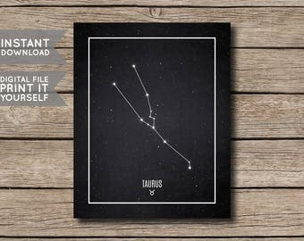 INSTANT DOWNLOAD - Taurus Constellation Print / Printable Zodiac / Horoscope Constellation Print / Poster / Chalkboard Style - Digital File